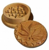 Shisham Wood Grinder Hemp Leave Carved